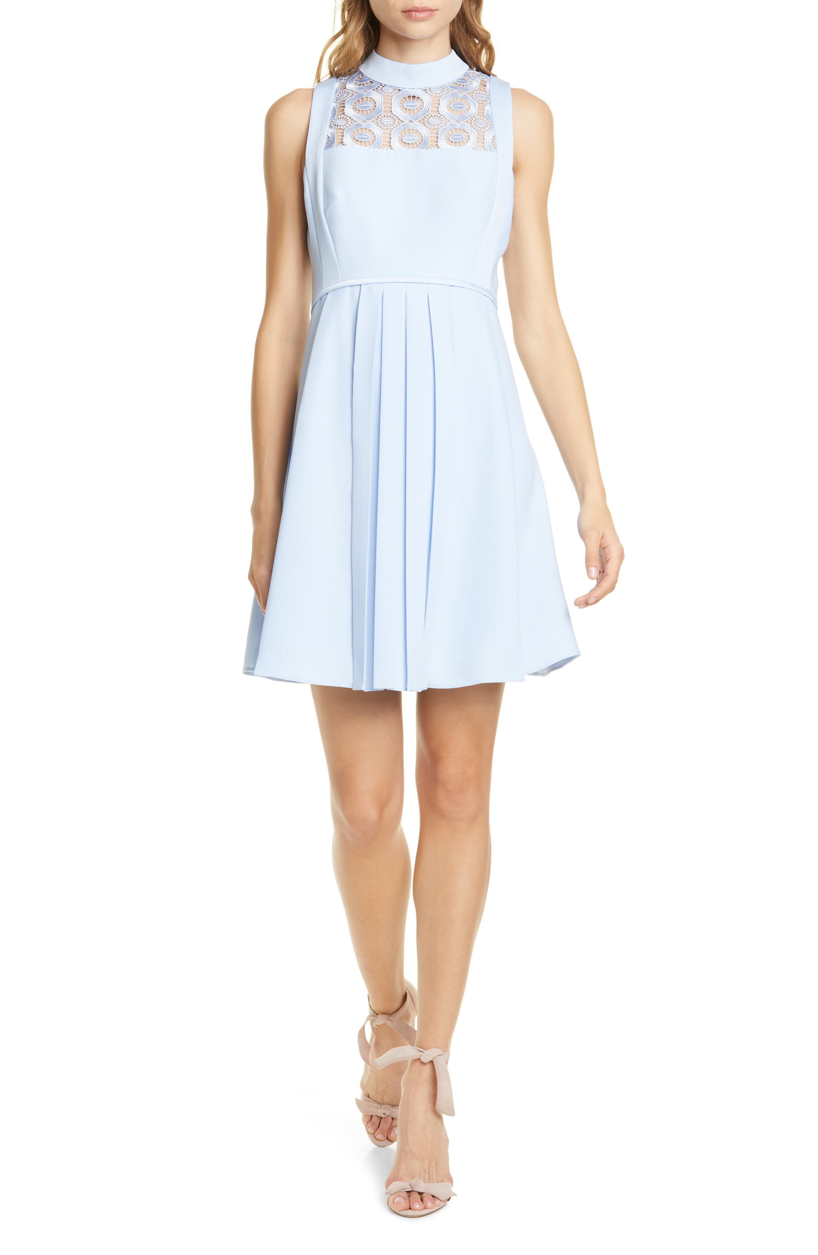 Ted Baker London Abequa Lace Yoke Skater Dress, Blue