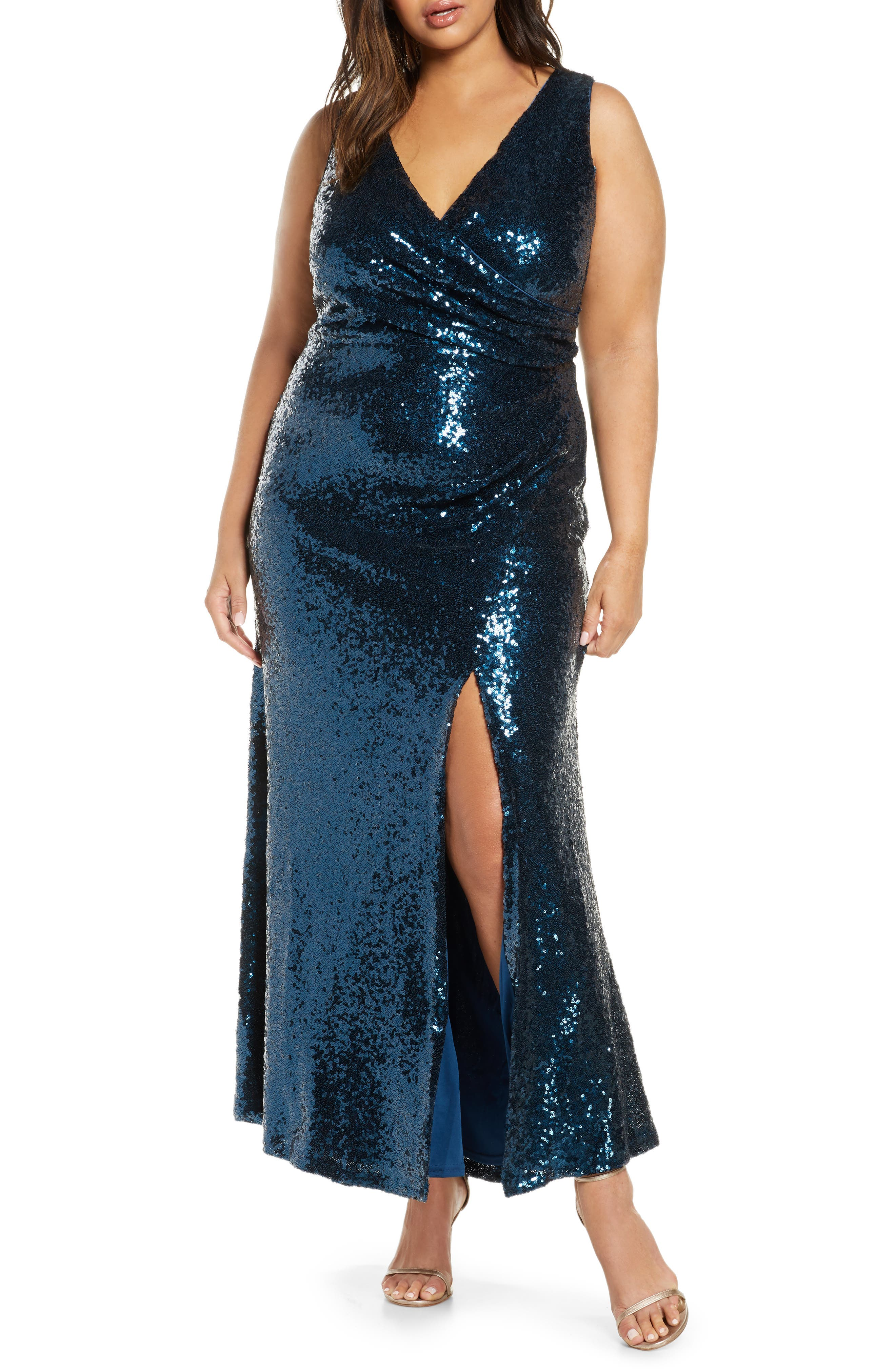 70s Dresses – Disco Dress, Hippie Dress, Wrap Dress Plus Size Womens Vince Camuto Sleeveless Sequin Gown $308.00 AT vintagedancer.com