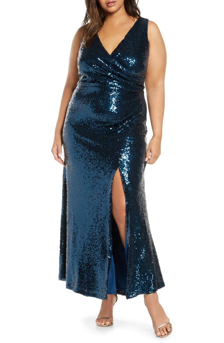 VINCE CAMUTO Sleeveless Sequin Gown, Main, color, 436
