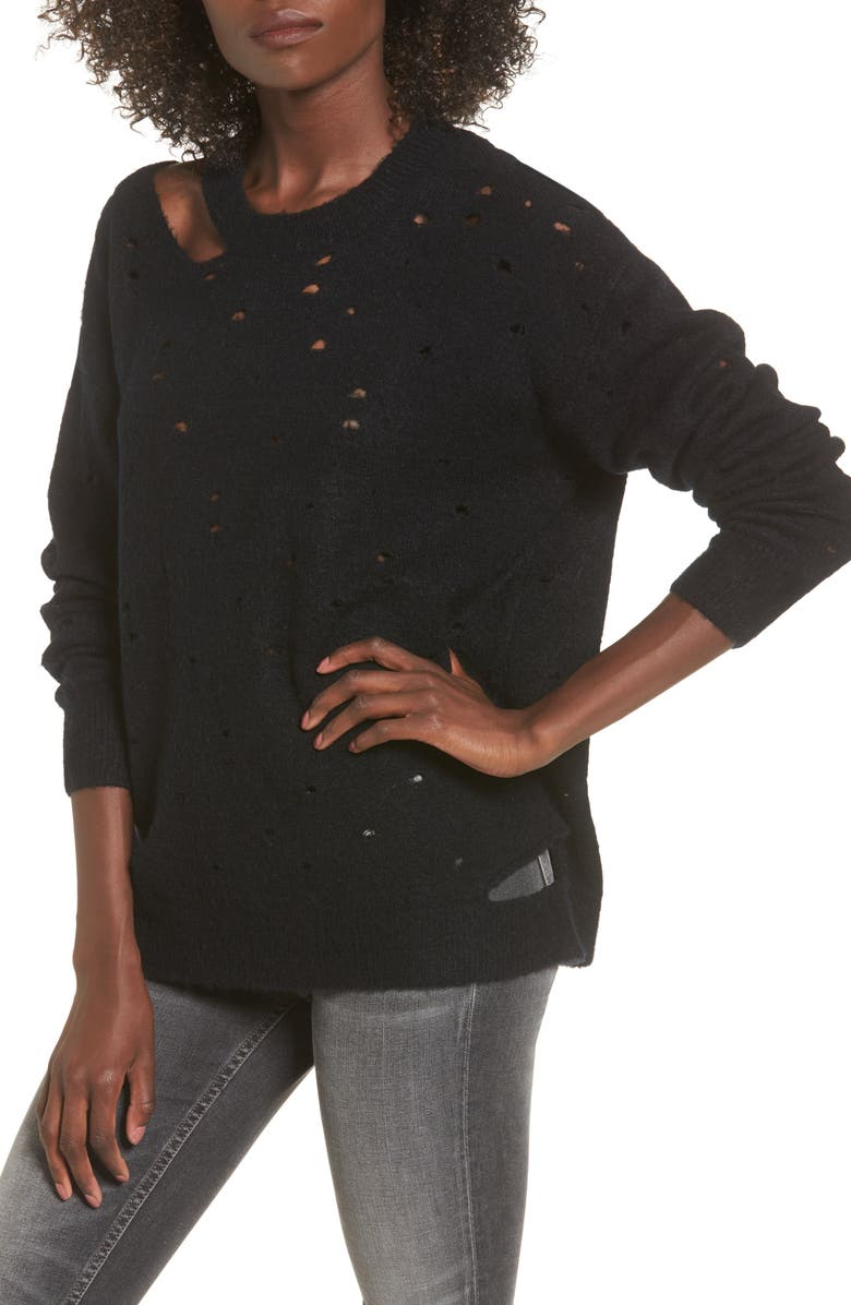 ASTR THE LABEL Distressed Sweater, Main, color, 001