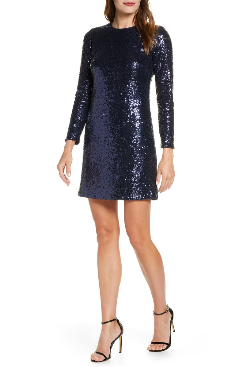 VINCE CAMUTO Long Sleeve Sequin Sheath Dress, Main, color, 410