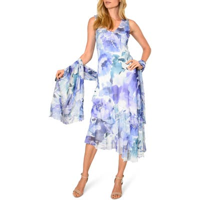 Komarov Tiered Chiffon Cocktail Dress With Shawl, Blue