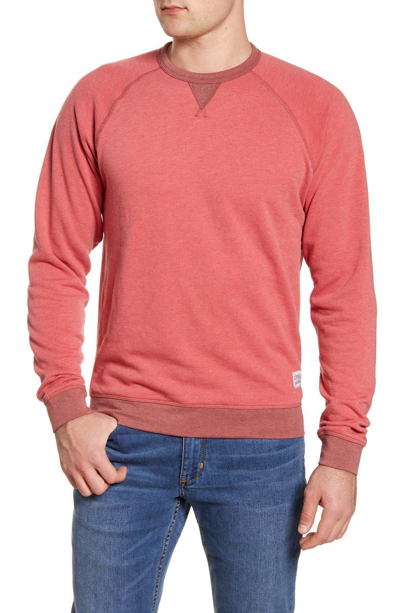 JOHNNIE-O Pamlico Crewneck Sweatshirt, Main, color, MALIBU RED
