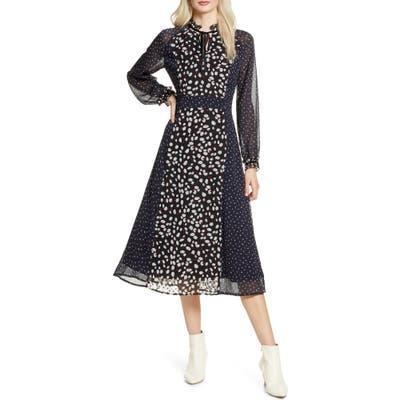 Chelsea28 Pattern Mix Long Sleeve Midi Dress, Black
