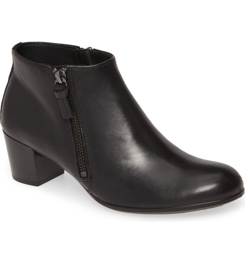 ECCO Shape 35 Ankle Bootie, Main, color, BLACK/ BLACK LEATHER