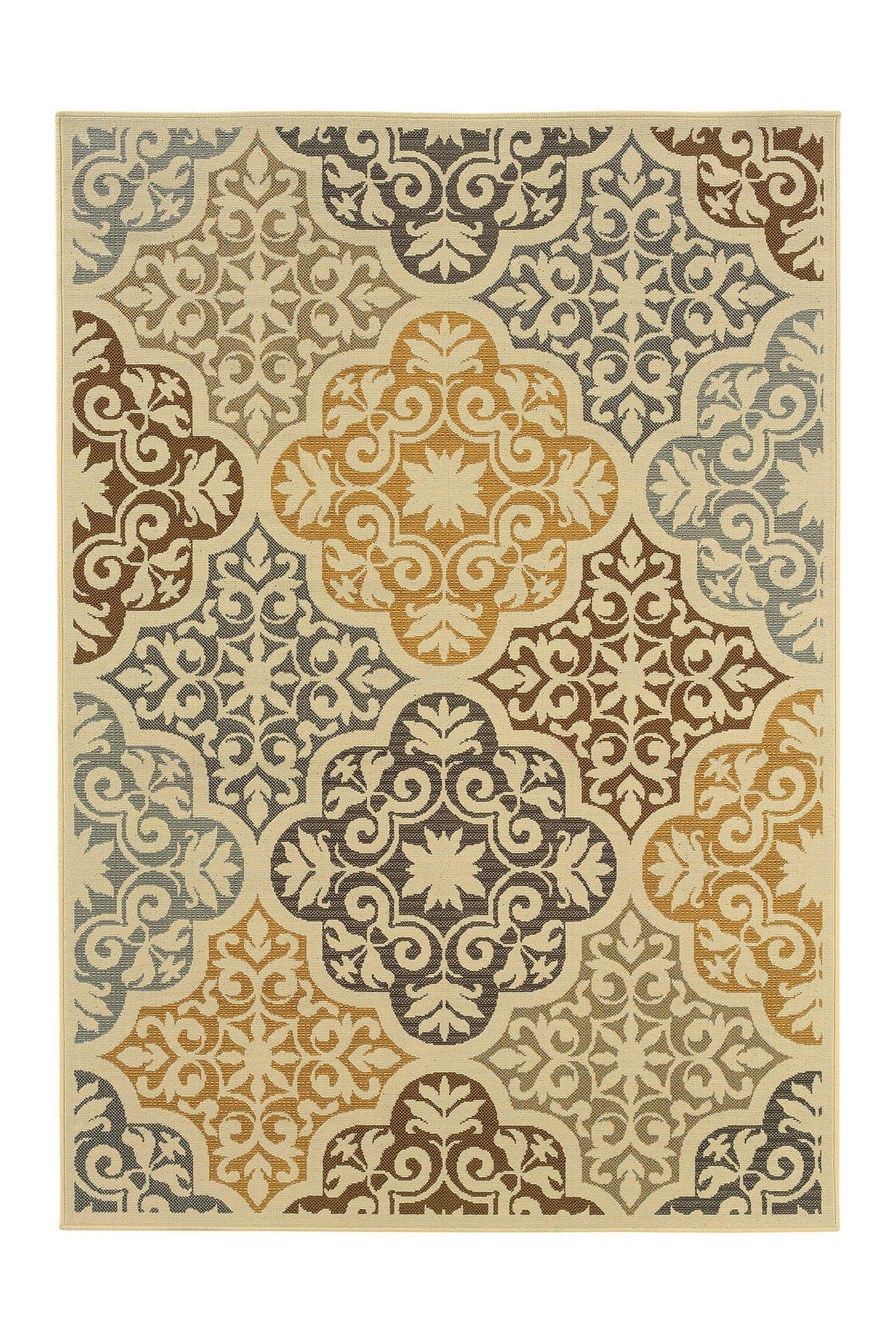 Image of Oriental Weavers Moorea Indoor/Outdoor Rug / Ivory/Grey
