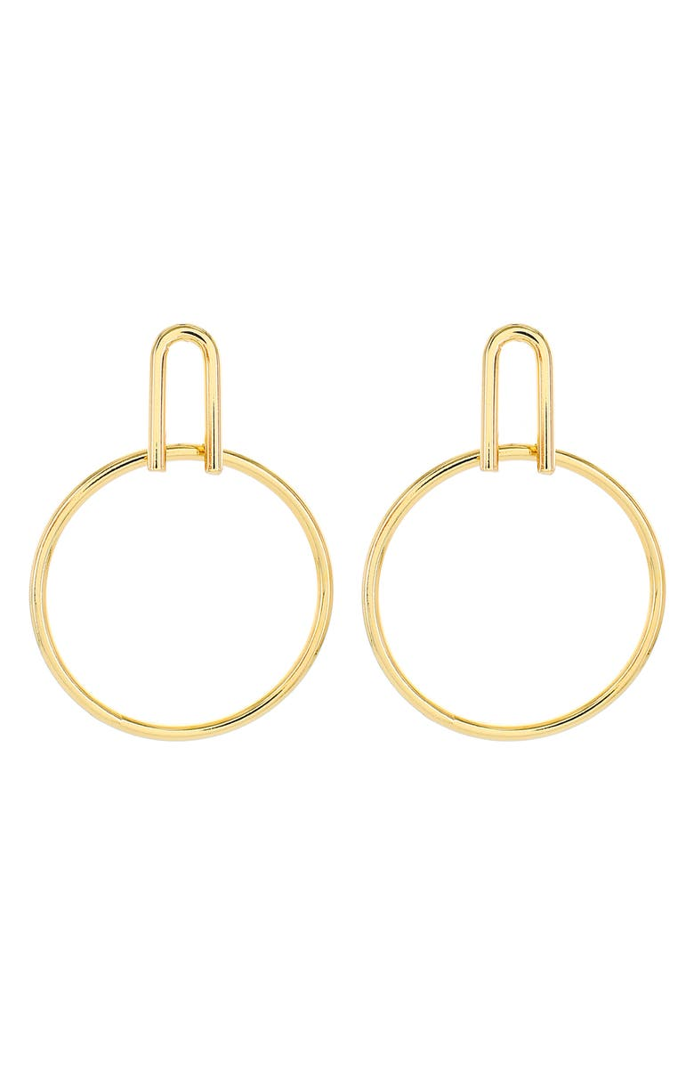 PANACEA U Top Hoop Earrings, Main, color, GOLD