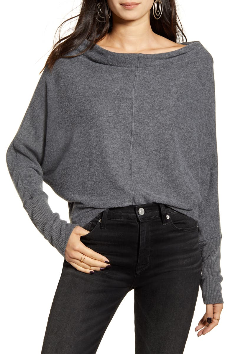 TREASURE & BOND Slouchy Long Sleeve Top, Main, color, GREY DARK CHARCOAL HEATHER