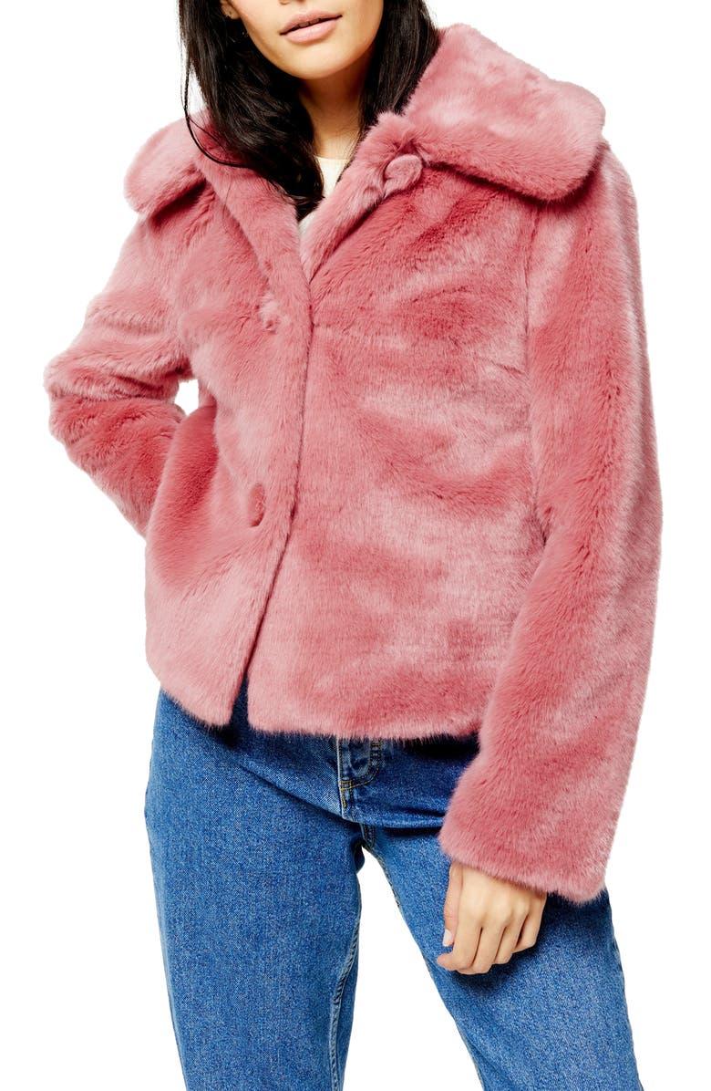 TOPSHOP Anne Faux Fur Crop Coat, Main, color, ROSE