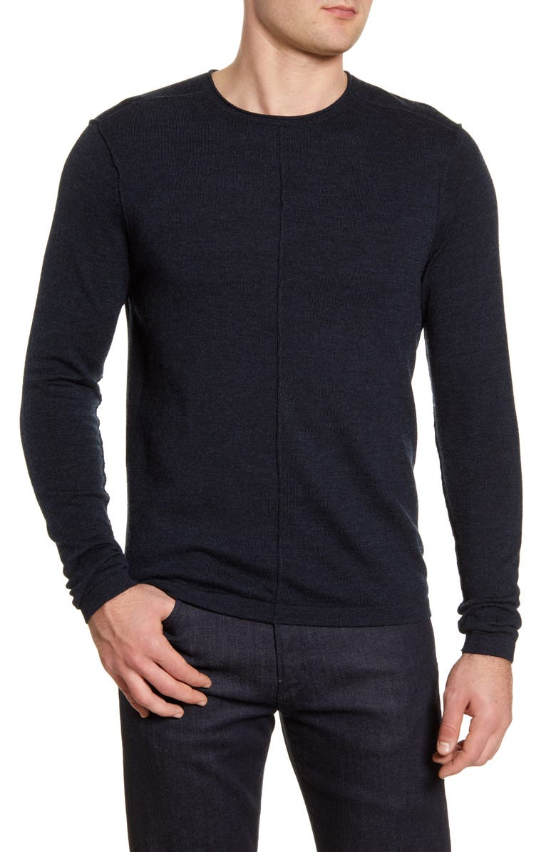 ROBERT BARAKETT Sudbury Merino Wool Crewneck Sweater, Main, color, NAVY