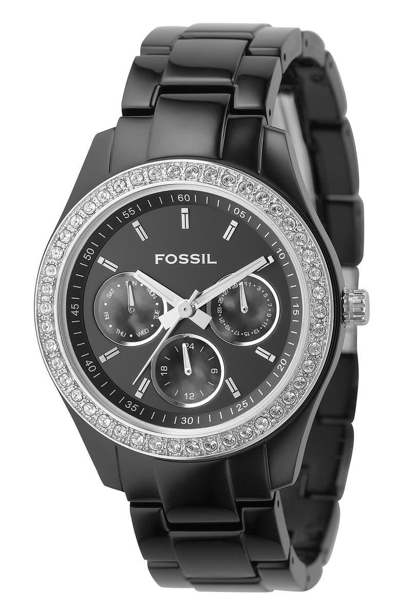 FOSSIL Chronograph Bracelet Watch, 37mm, Main, color, 001