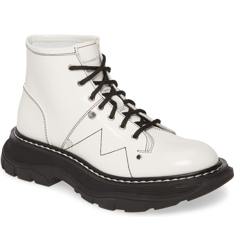 ALEXANDER MCQUEEN Lace-Up Lug Sole Hiker Boot, Main, color, WHITE