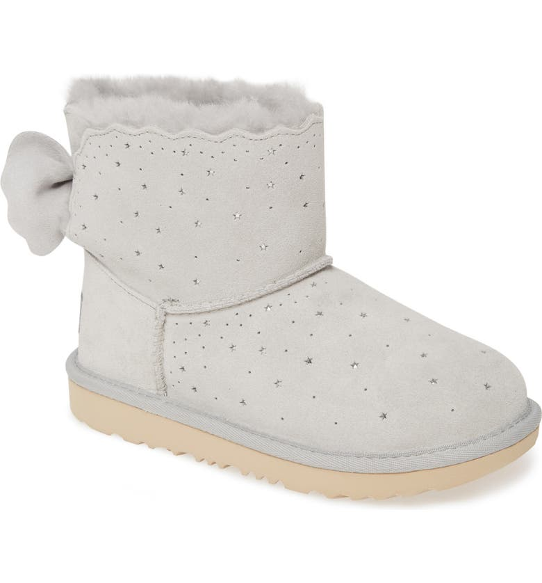 UGG<SUP>®</SUP> Mini Bailey Bow II Starry Lite Genuine Shearling Bootie, Main, color, GREY VIOLET