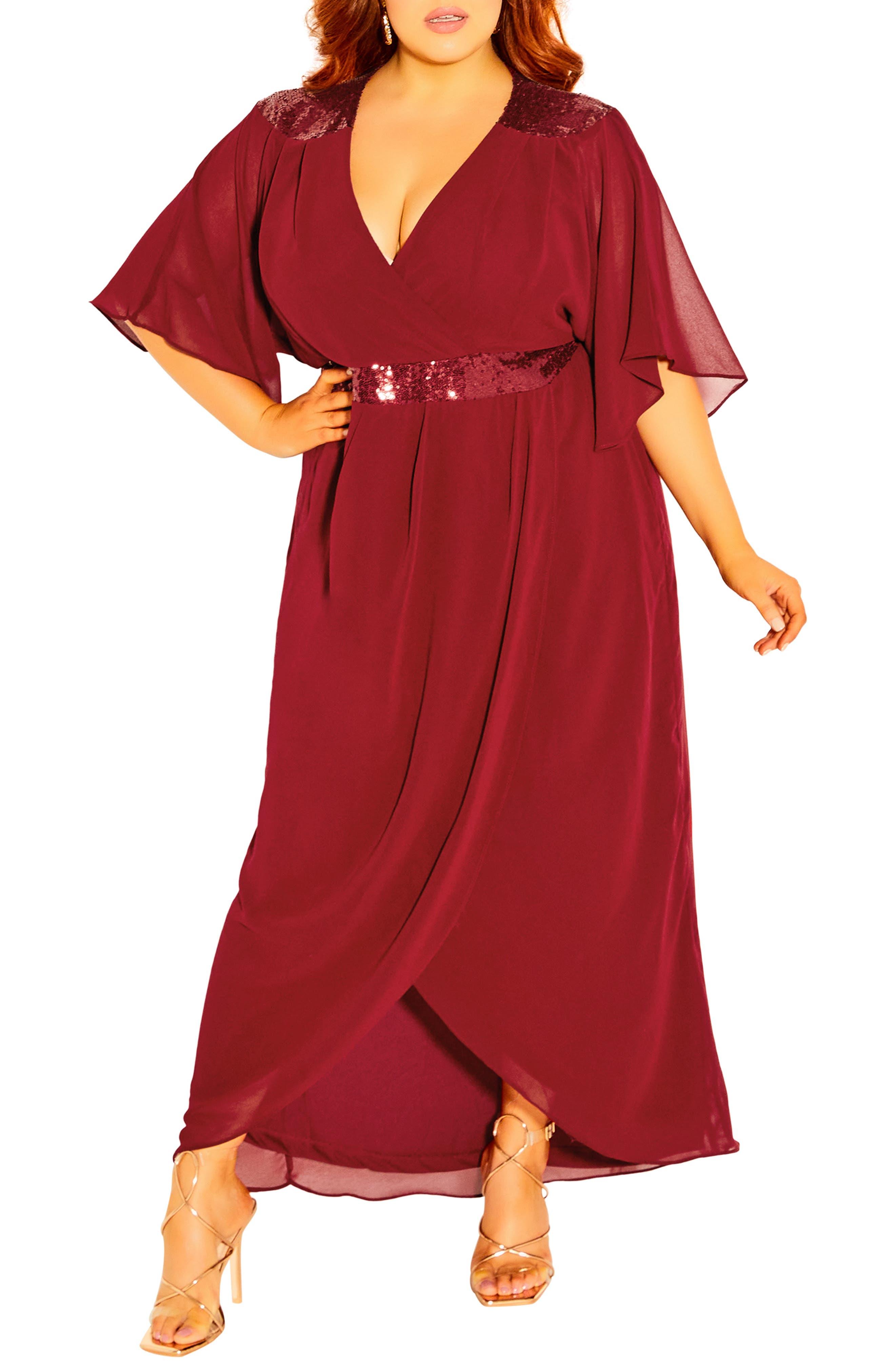Sequin Faux Wrap Dress