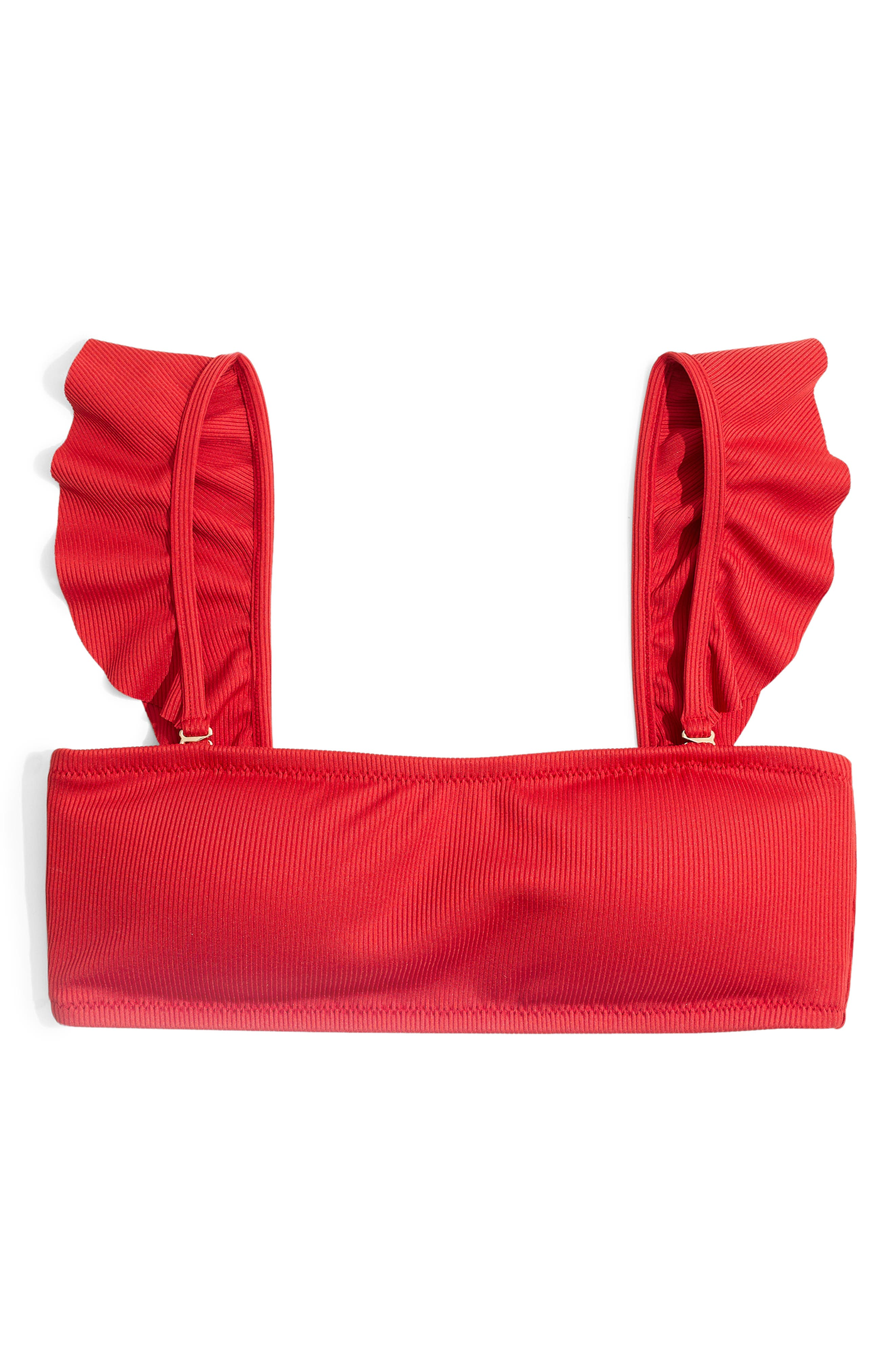 ,                             Second Wave Ribbed Ruffle Strap Bandeau Bikini Top,                             Alternate thumbnail 4, color,                             AMERICANA RED