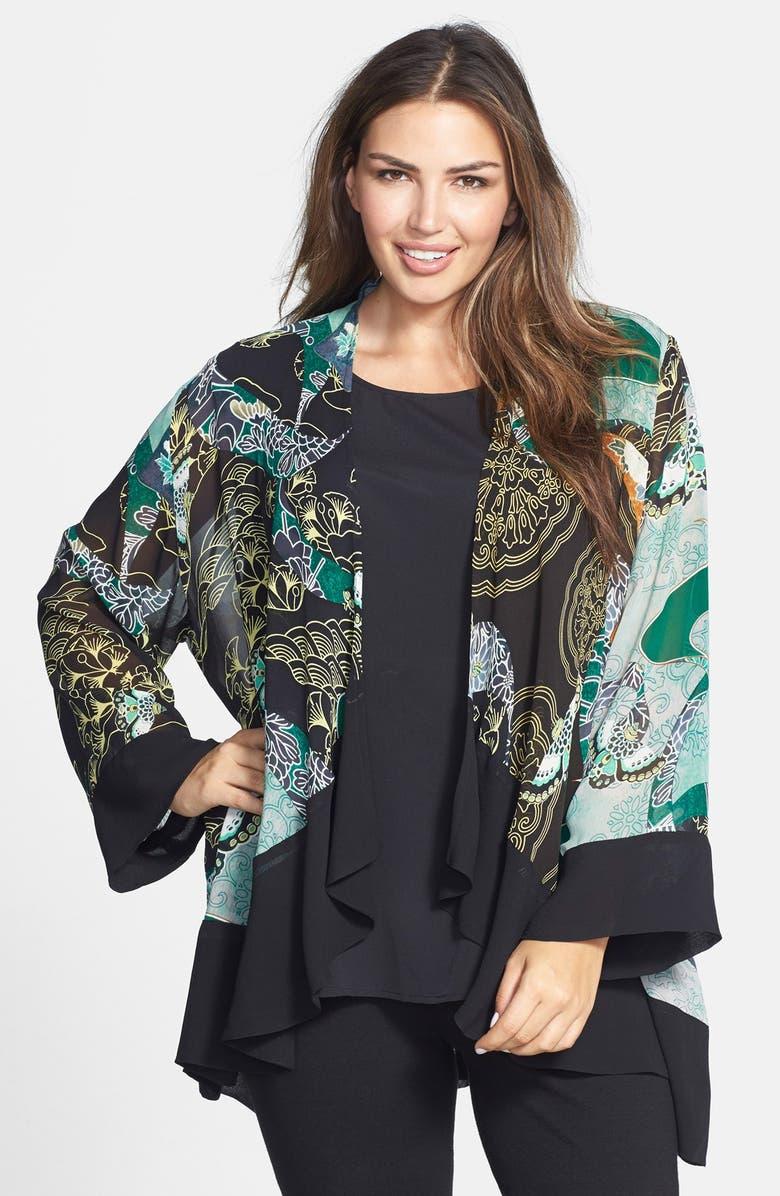 CITRON Print Silk Kimono Jacket, Main, color, GREEN
