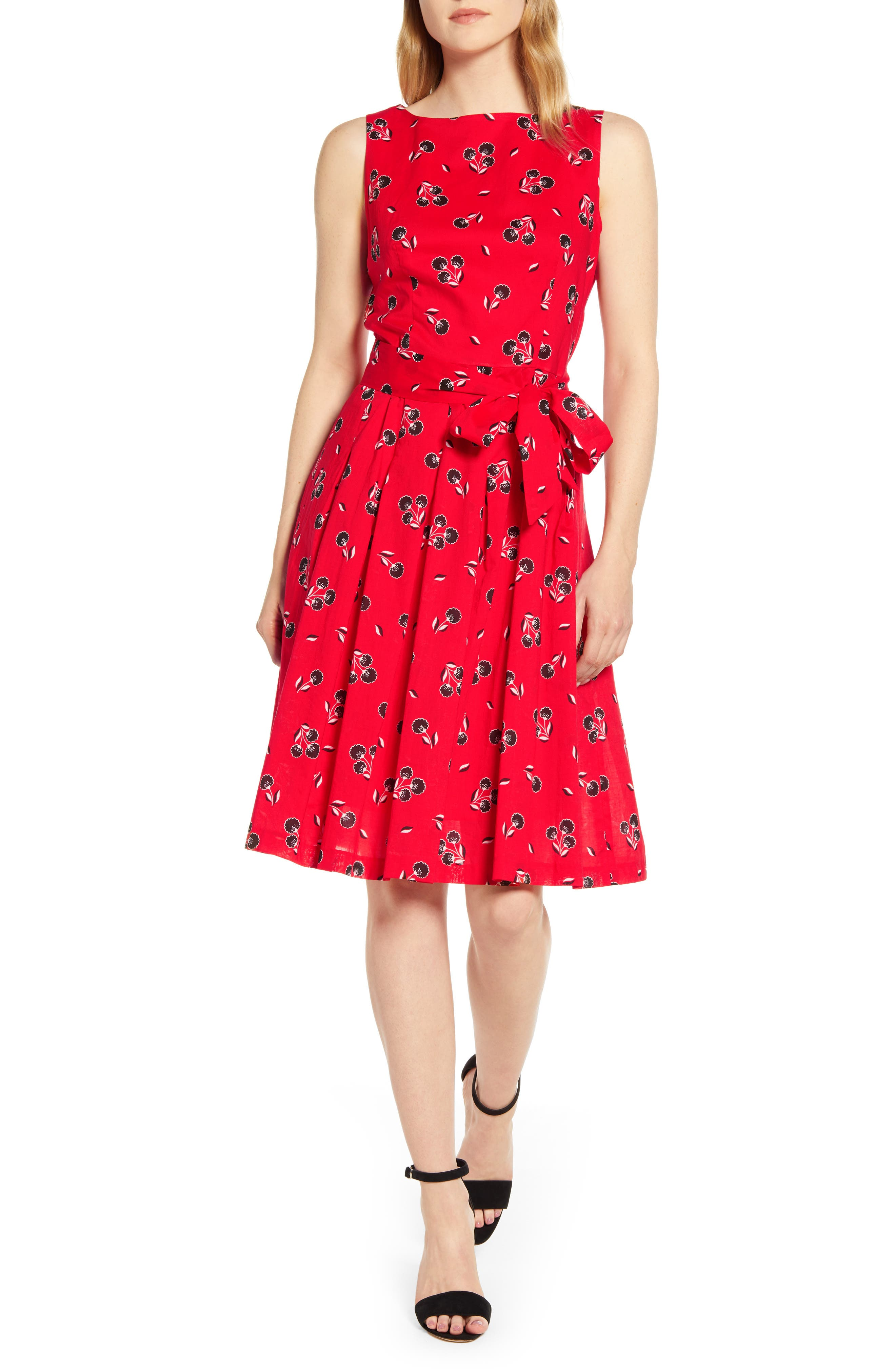 Anne Klein Tussy Mussy Fit & Flare Cotton Dress, Red