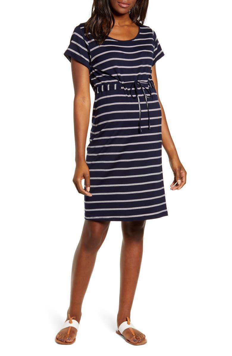ANGEL MATERNITY Drawstring Maternity Dress, Main, color, NAVY