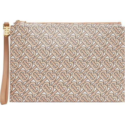 Burberry Panola Monogram Leather Pouch - Beige