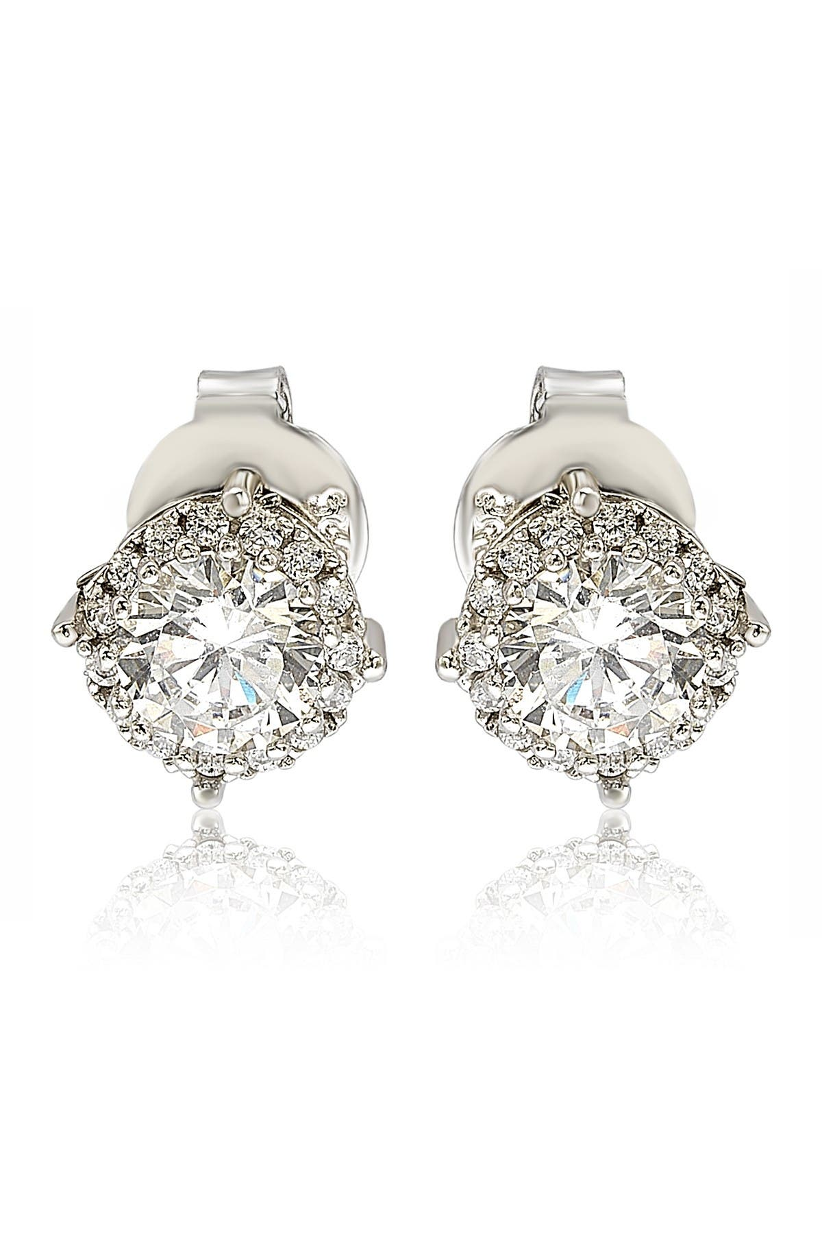 Image of Suzy Levian Sterling Silver White CZ Round Stud Earrings