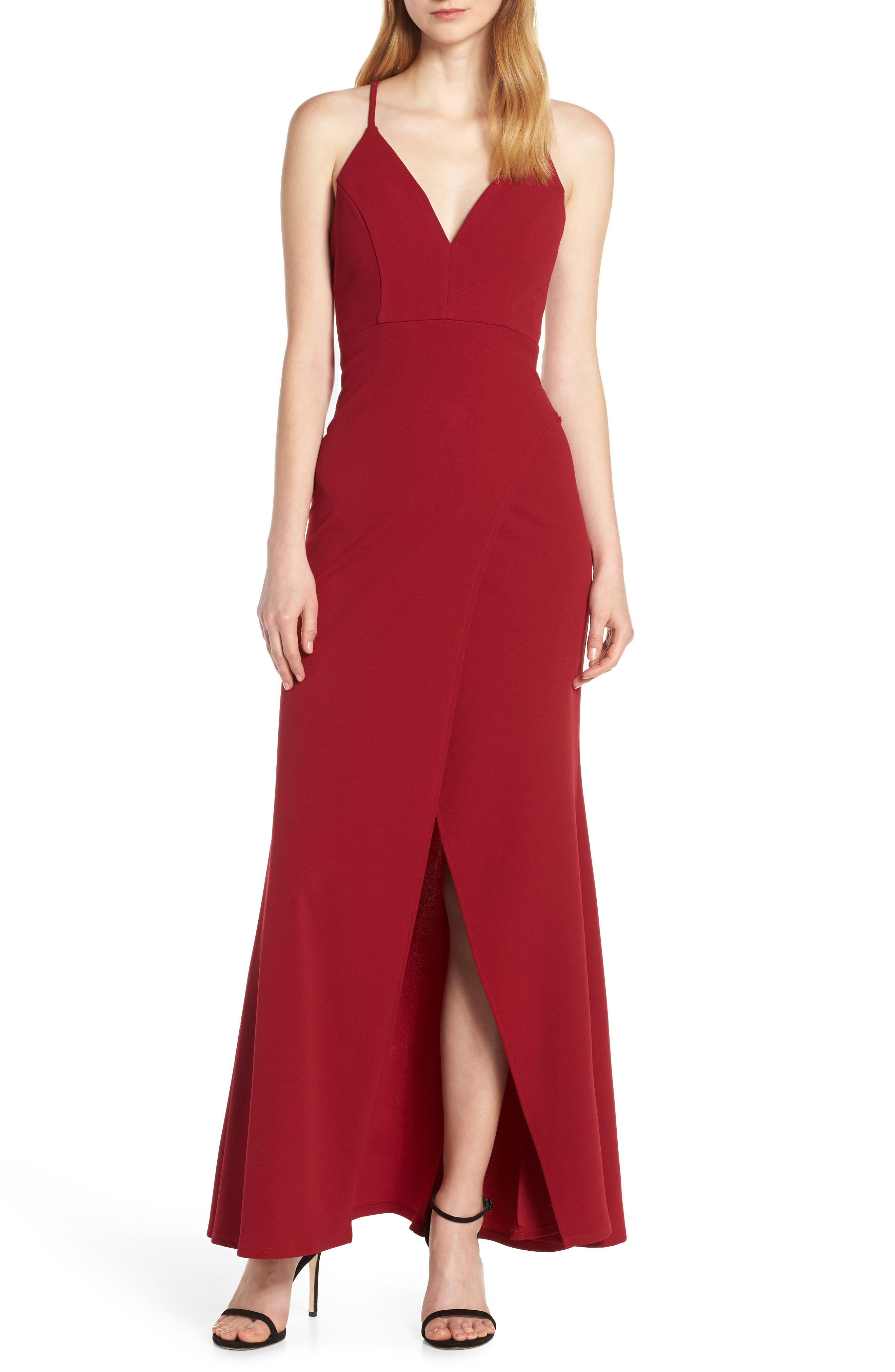 Sequin Hearts Lace & Crepe Halter Evening Dress, Red