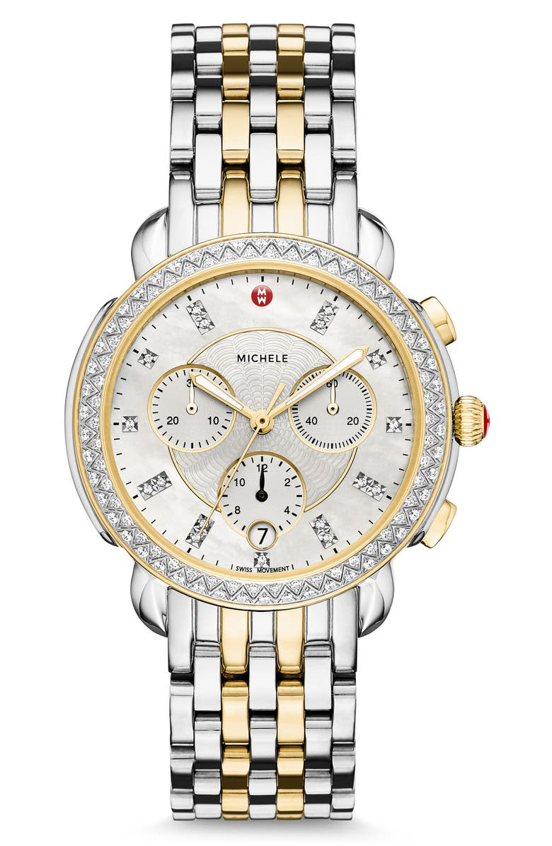 MICHELE Sidney Chronograph Diamond Watch Head & Bracelet, 38mm, Main, color, GOLD/ SILVER/ MOP
