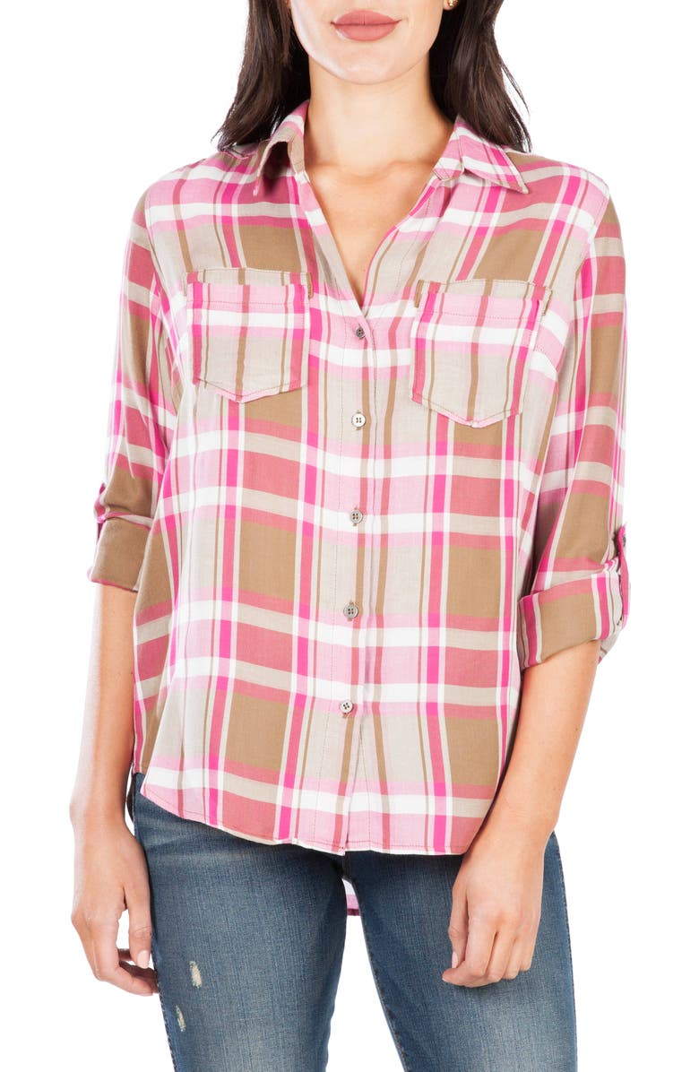 KUT FROM THE KLOTH Hannah Button Down Plaid Shirt, Main, color, PINK / ESPRESSO
