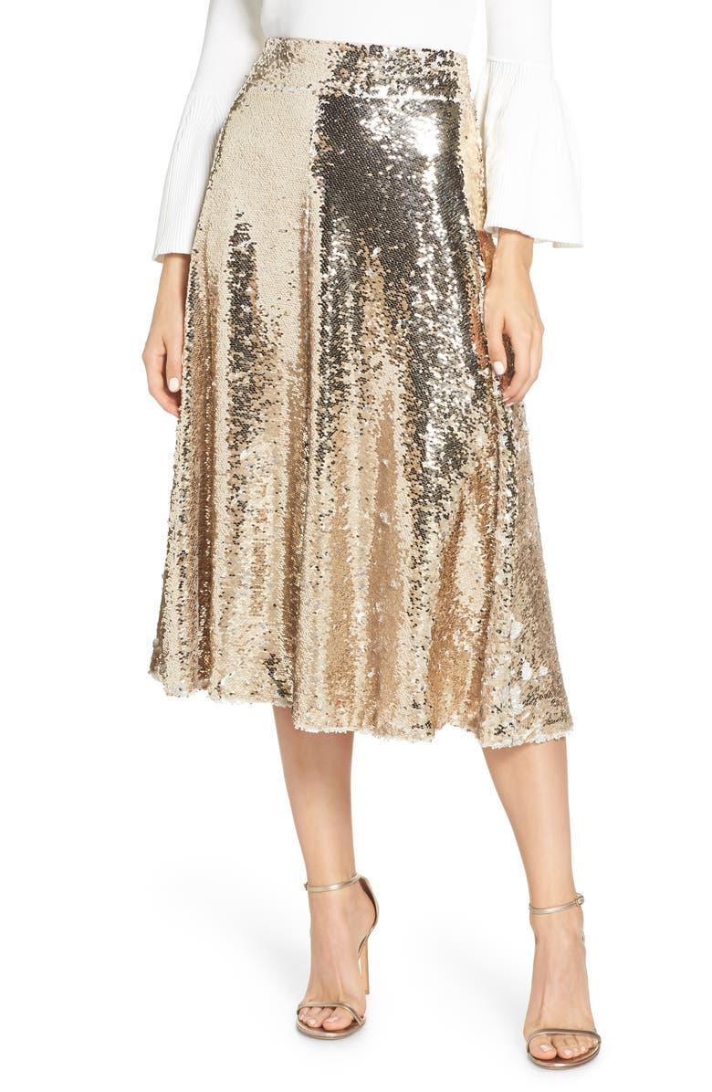 ELIZA J Sequin Embellished A-Line Skirt, Main, color, 710