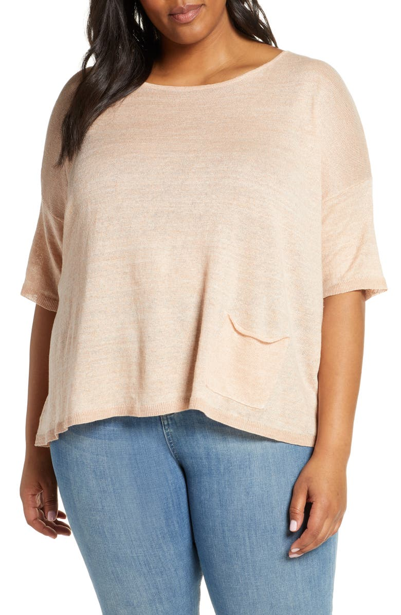 EILEEN FISHER Organic Linen Ballet Neck Sweater, Main, color, 255