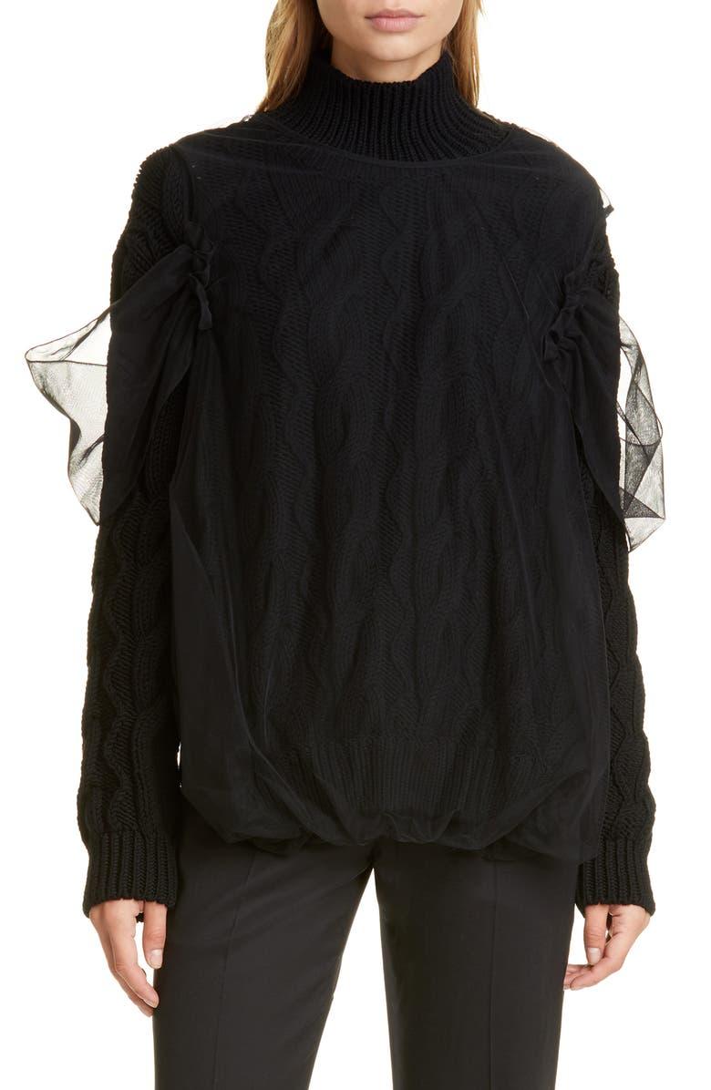 SIMONE ROCHA Cable Turtleneck Sweater, Main, color, BLACK BLACK