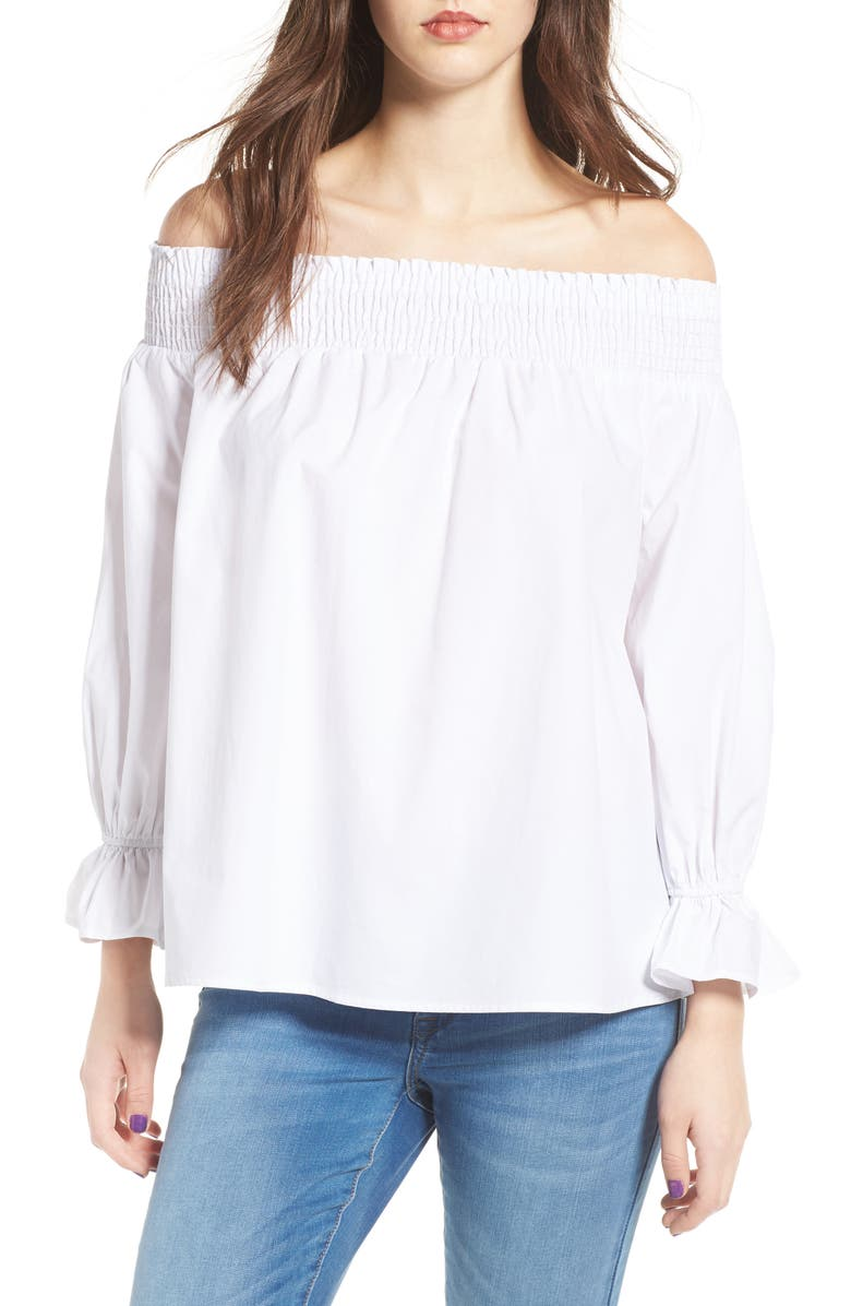 SOPRANO Bow Off-the-Shoulder Top, Main, color, 100