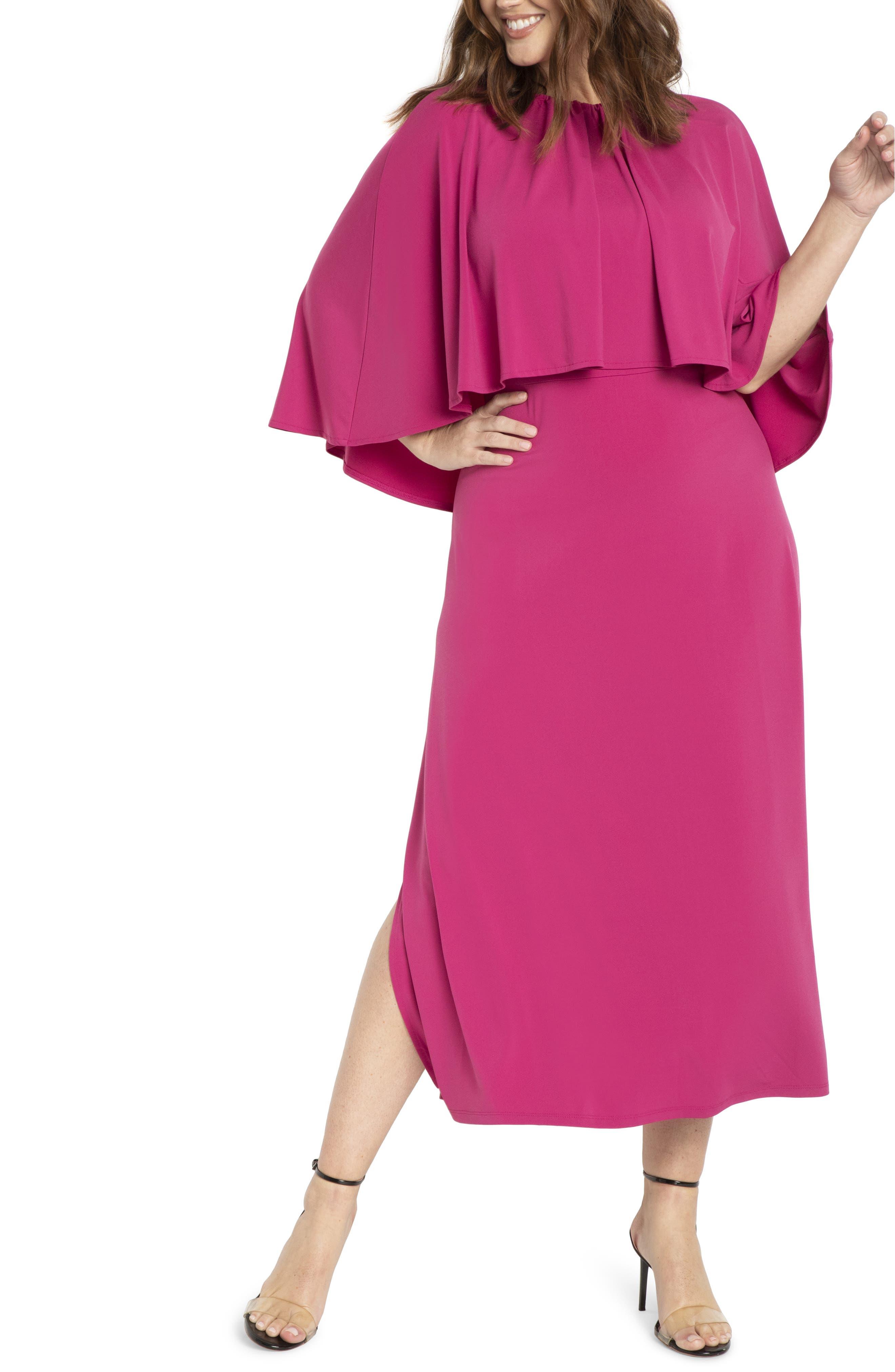 Cape Detail Side Slit Dress