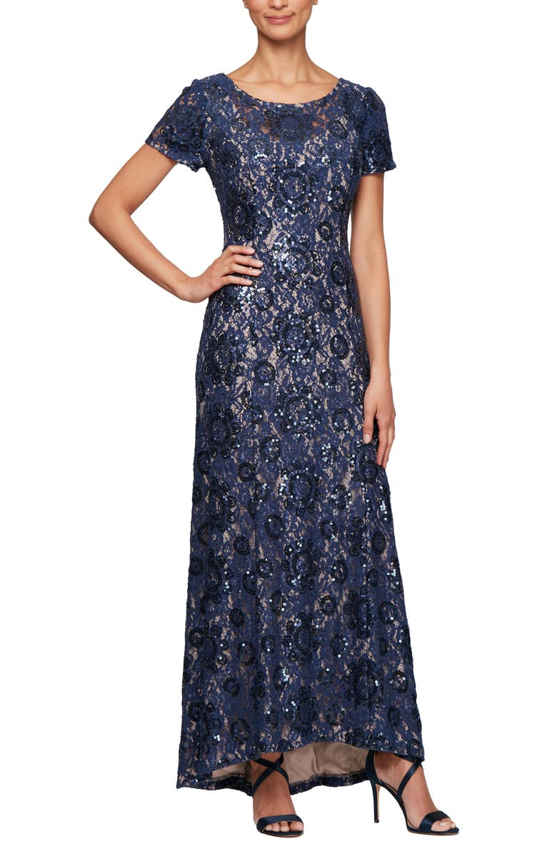 ALEX EVENINGS Embroidered Lace A-Line Gown, Main, color, NAVY/ NUDE