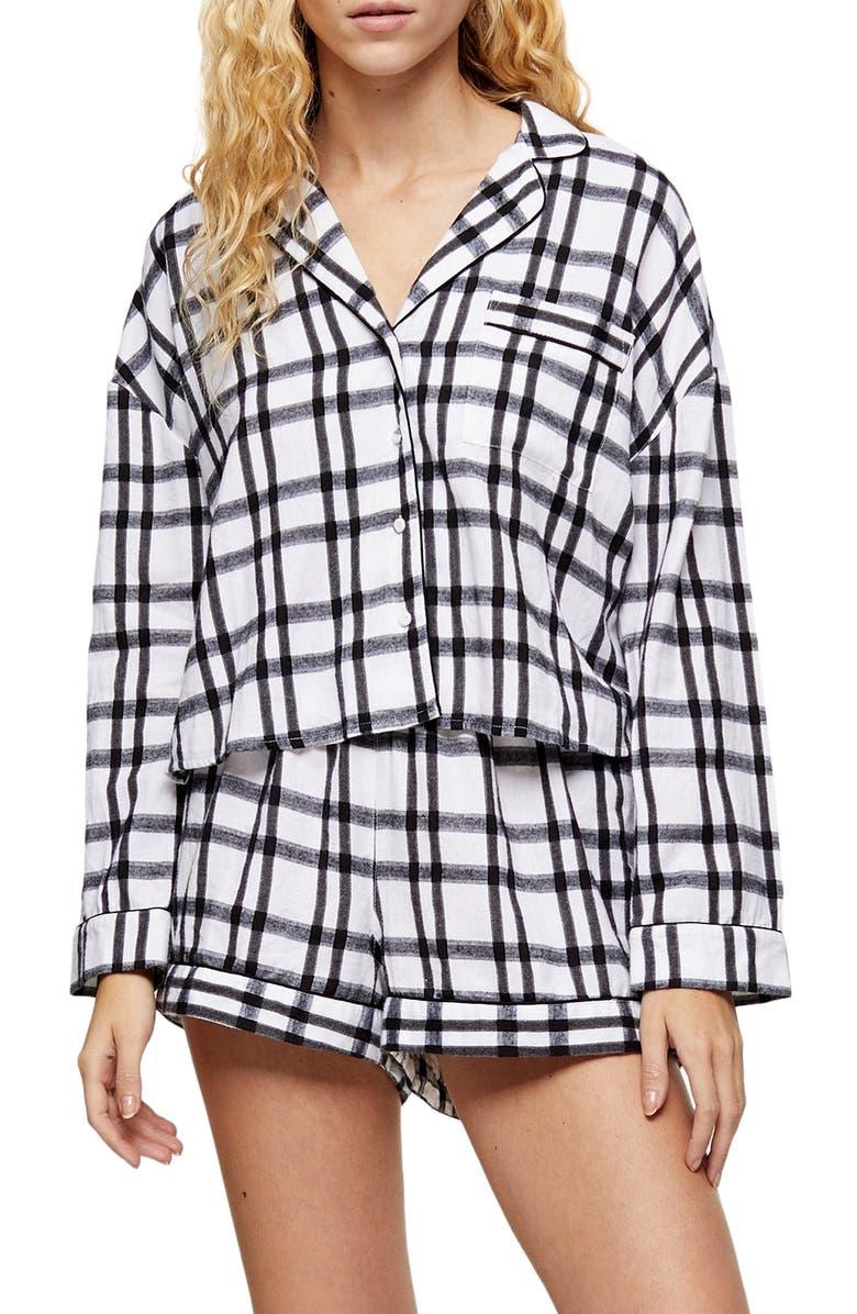 TOPSHOP Check Short Pajamas, Main, color, 100