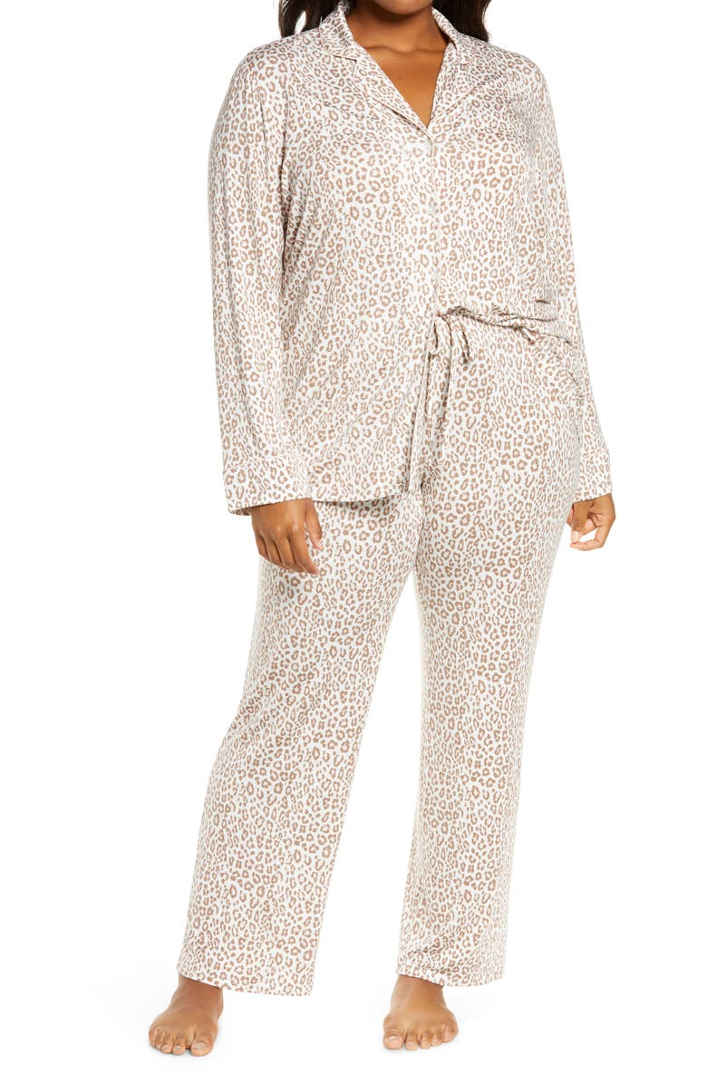 NORDSTROM LINGERIE Moonlight Pajamas, Main, color, IVORY EGRET ANIMAL PRINTS