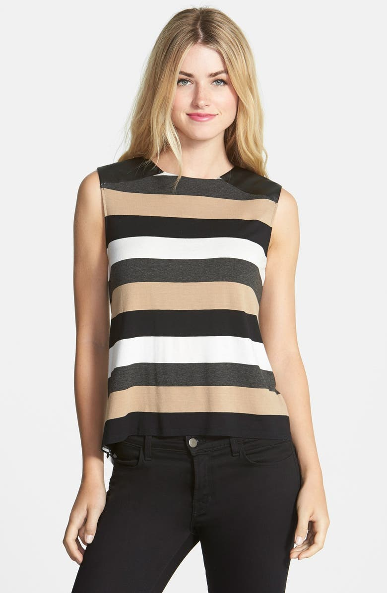 VINCE CAMUTO Faux Leather Trim Stripe Sleeveless Top, Main, color, 216