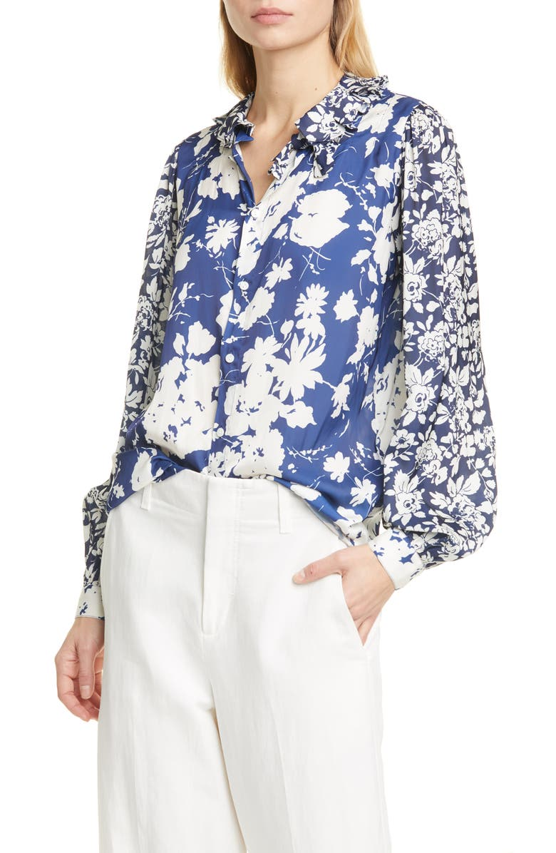 POLO RALPH LAUREN Floral Long Sleeve Satin Blouse, Main, color, NAVY/ ROYAL FLORAL MULTI