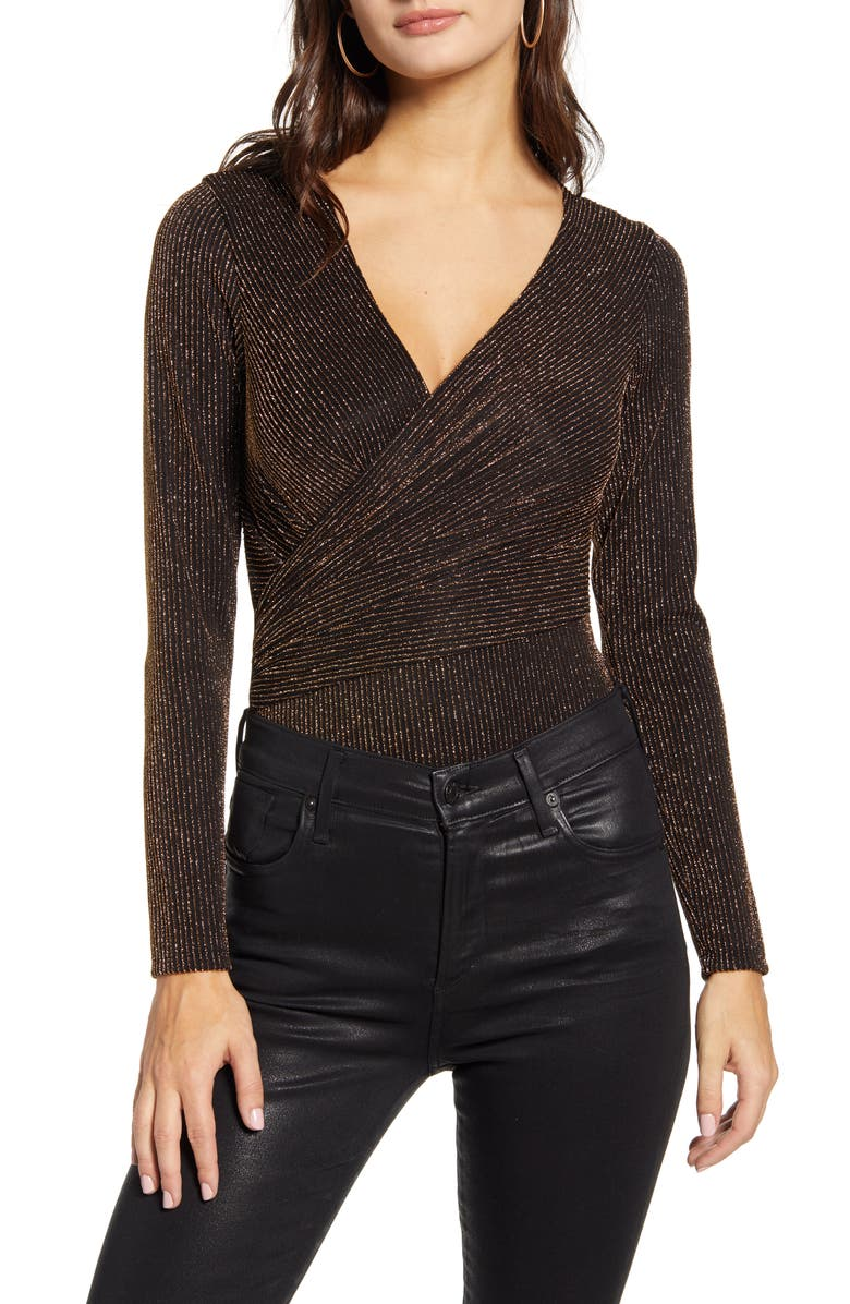 LEITH Sparkle Bodysuit, Main, color, BLACK METALLIC GOLD STR