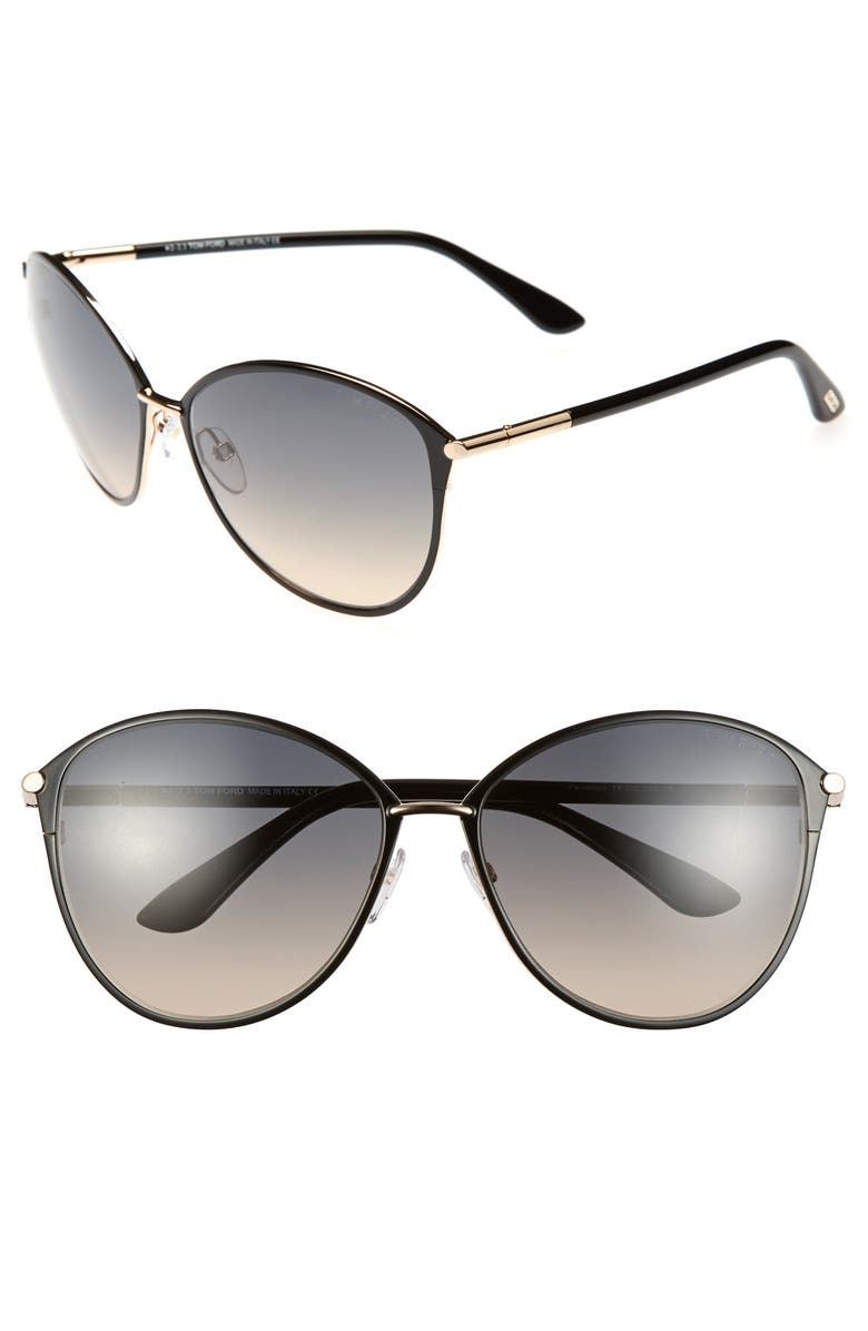 TOM FORD Penelope 59mm Gradient Cat Eye Sunglasses, Main, color, SHINY ROSE GOLD/ BLACK