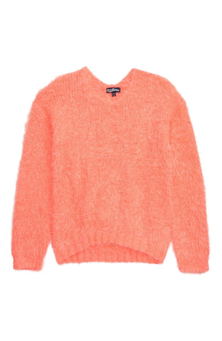FRESHMAN Eyelash Chenille Sweater, Main, color, MANGO SURPRISE DYE NEON