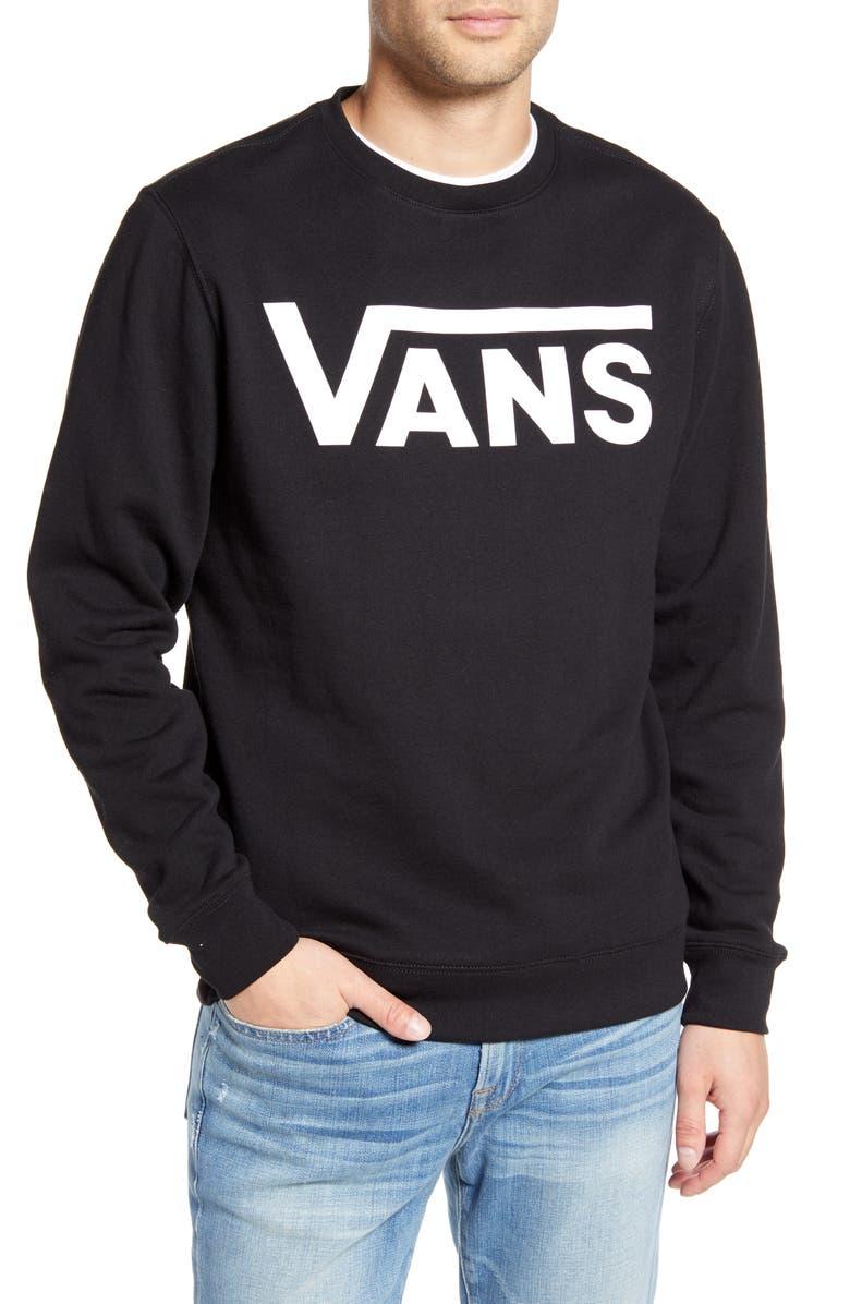 VANS Classic Crew II Logo Sweatshirt, Main, color, BLACK/ WHITE