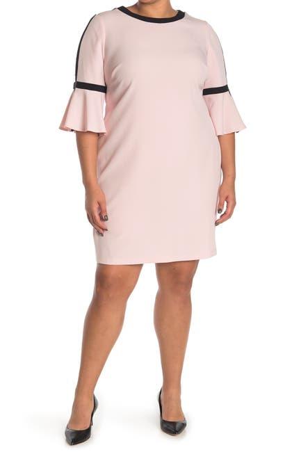 Image of TASH + SOPHIE Colorblock Bell Sleeve Shift Dress