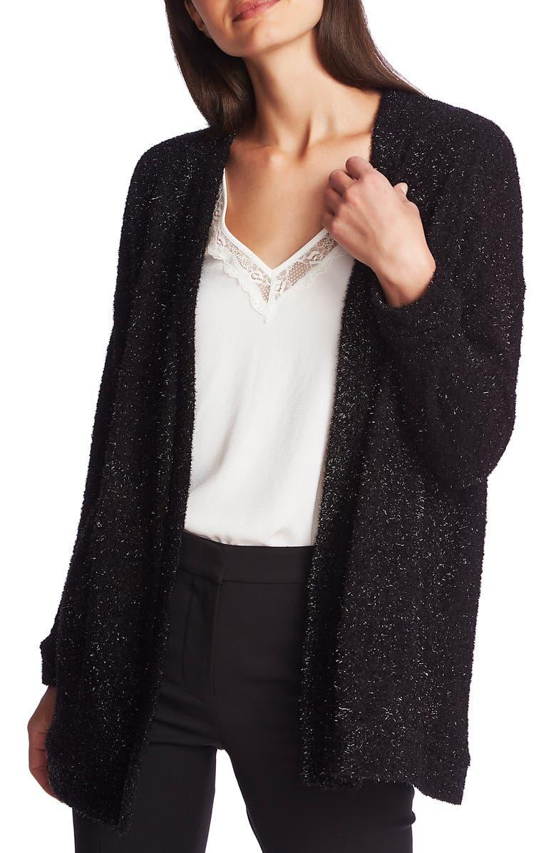 1.STATE Metallic Eyelash Cardigan, Main, color, RICH BLACK