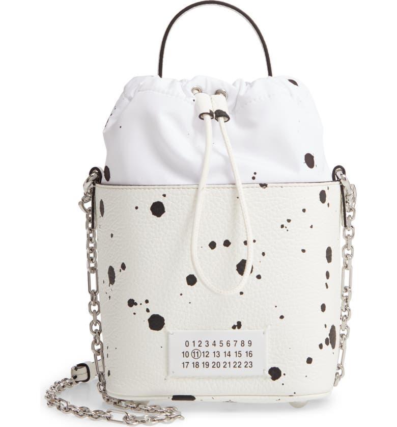 MAISON MARGIELA 5AC Leather Bucket Bag, Main, color, WHITE/ BLACK SPLATTER
