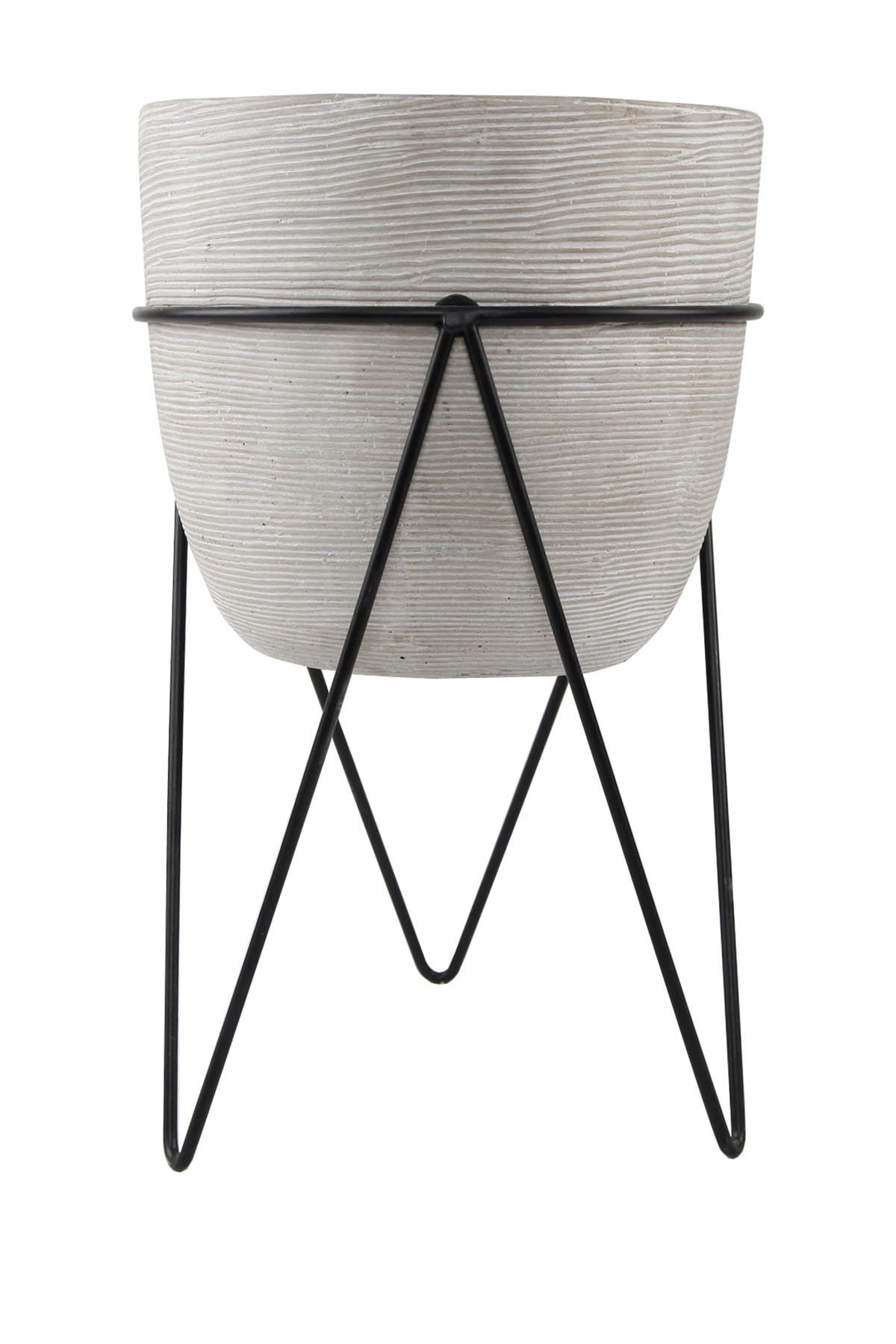 "Image of FLORA BUNDA 12.5"" Tall Grey Cement Planter on Stand"