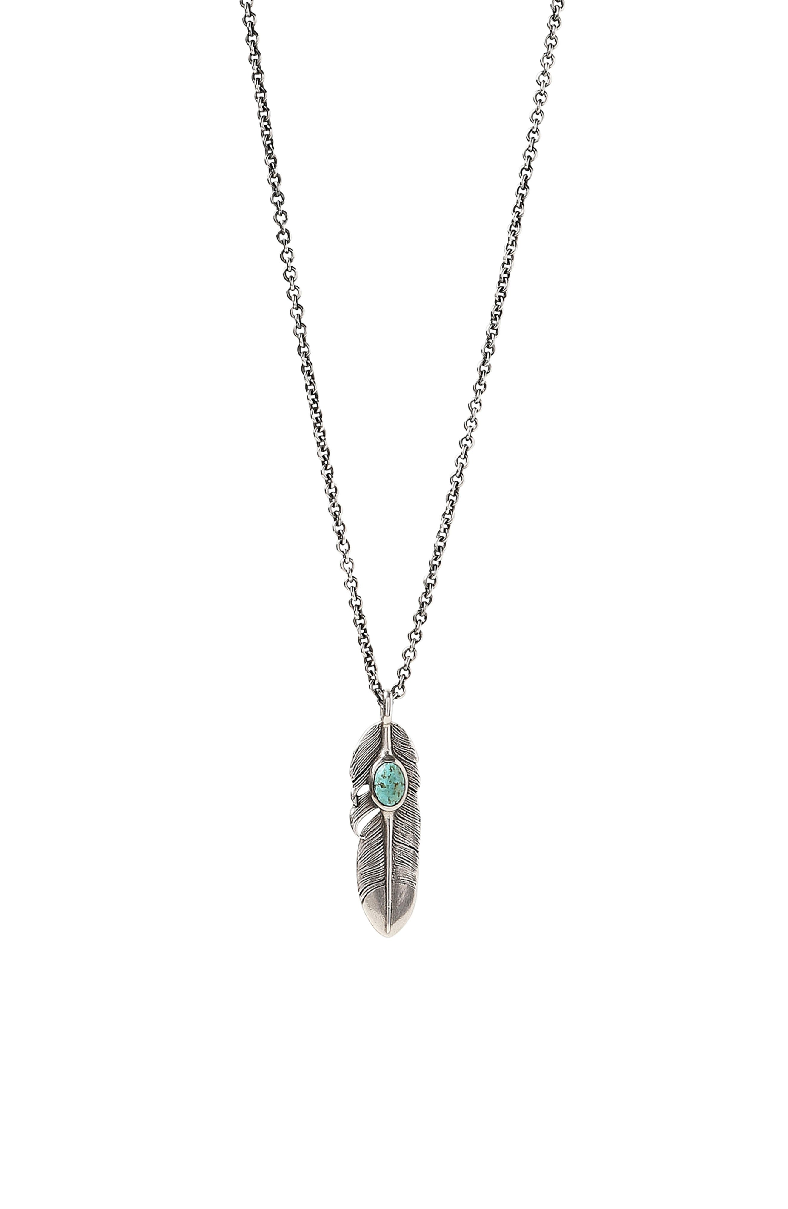 Sterling Silver & Turquoise Feather Pendant Necklace