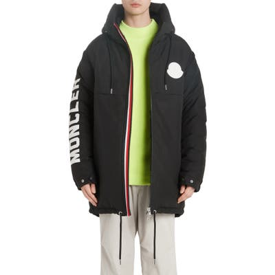 Moncler Chanier Hooded Down Jacket, Black