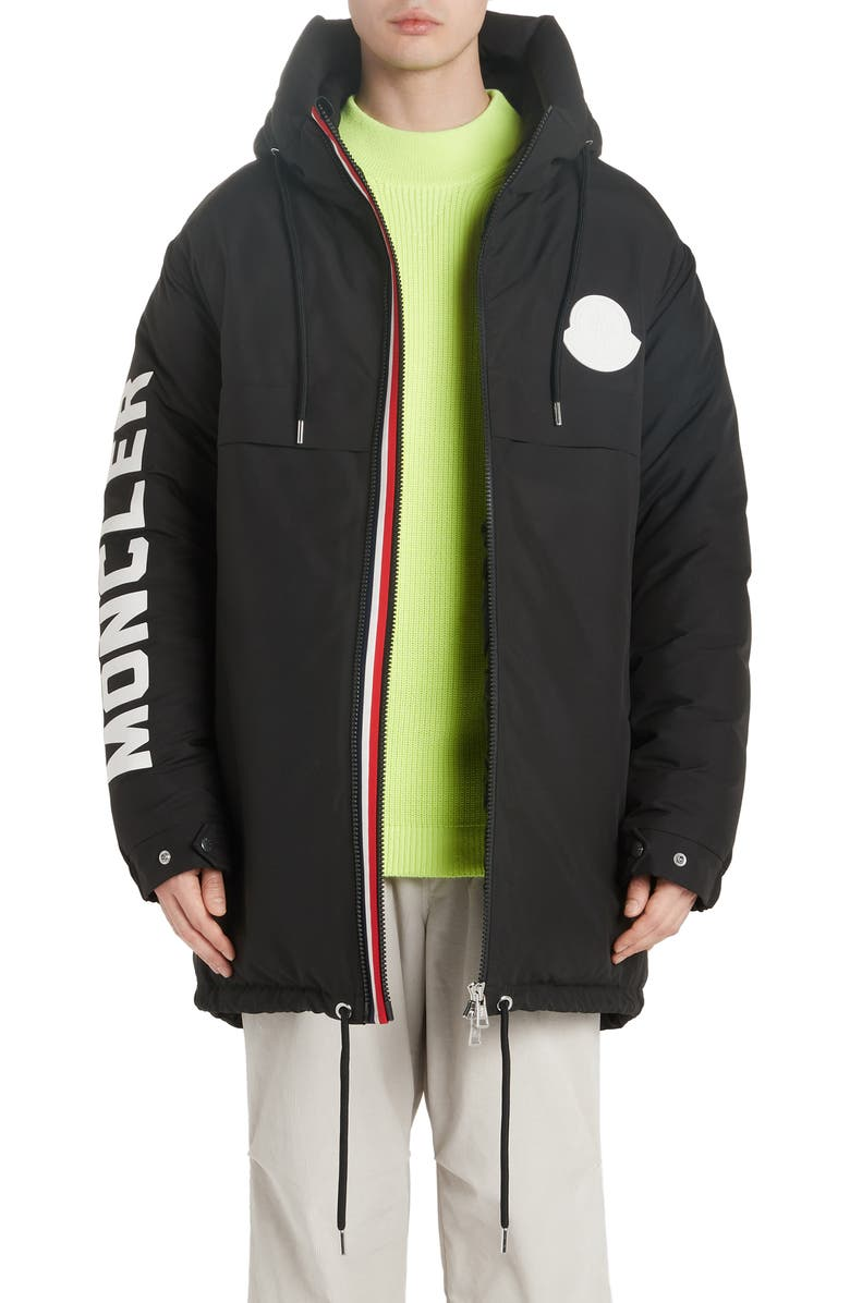 MONCLER Chanier Hooded Down Jacket, Main, color, BLACK