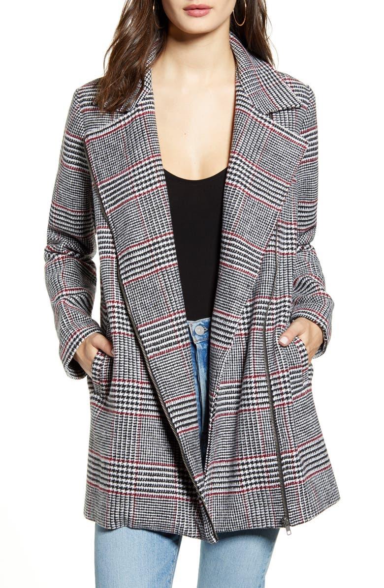 JACK by BB Dakota Yarn Dyed Plaid Coat, Main, color, BLACK