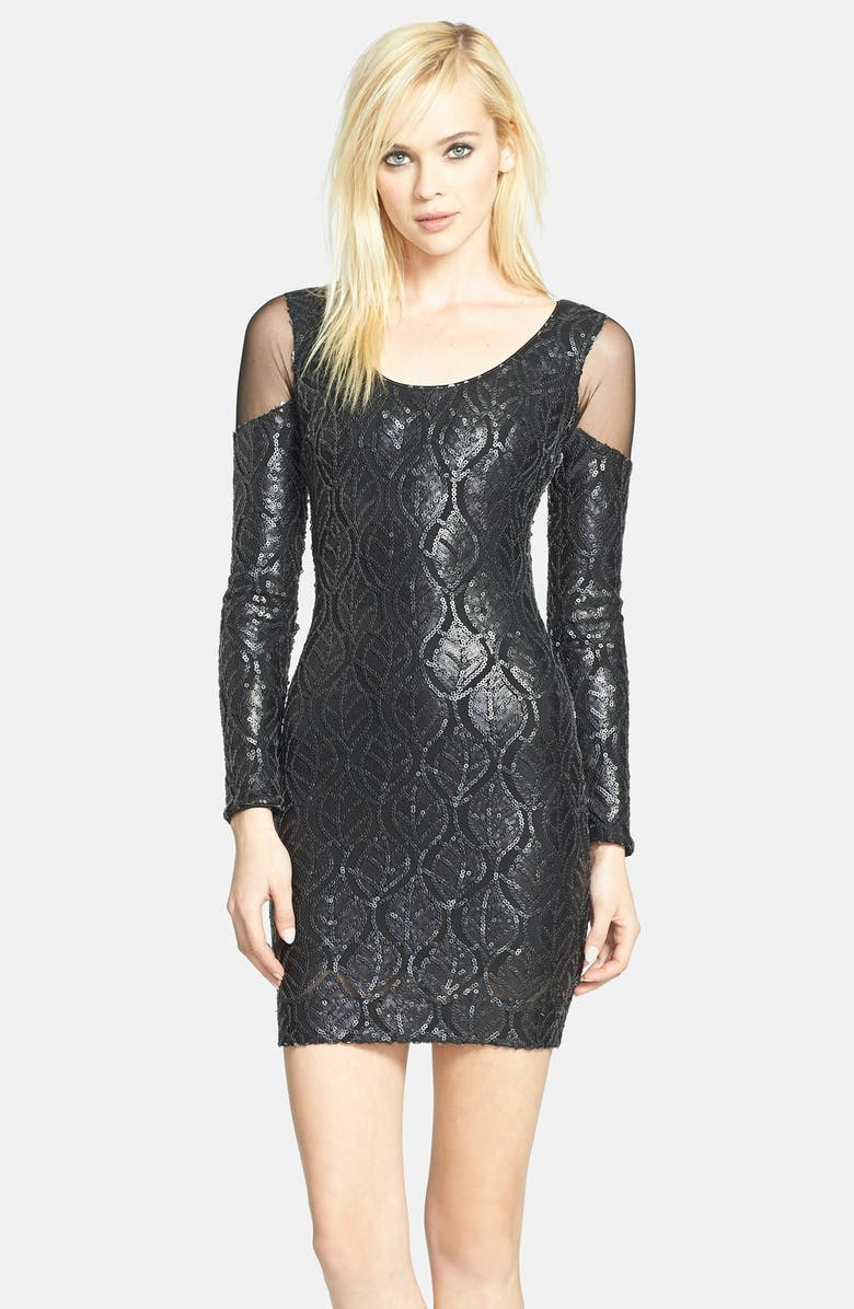 DRESS THE POPULATION 'Jaden' Faux Leather Sequin Body-Con Dress, Main, color, 001